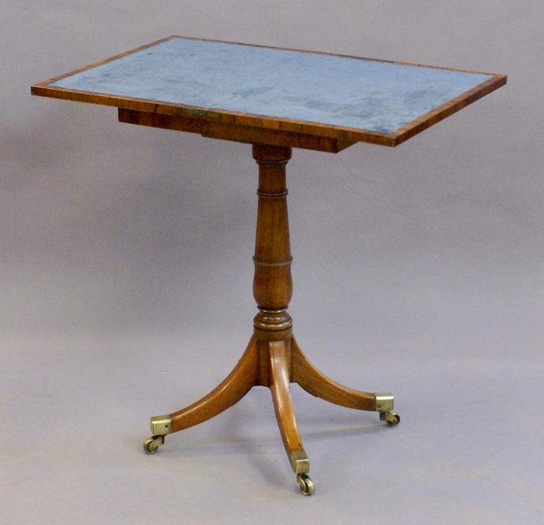 19th Century Regency Period Rosewood Folding Games Table on Pedestal Base In Good Condition For Sale In Surrey, GB