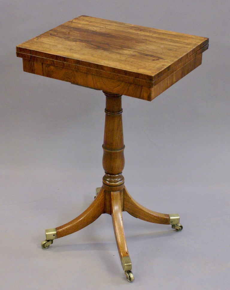 19th Century Regency Period Rosewood Folding Games Table on Pedestal Base For Sale 1