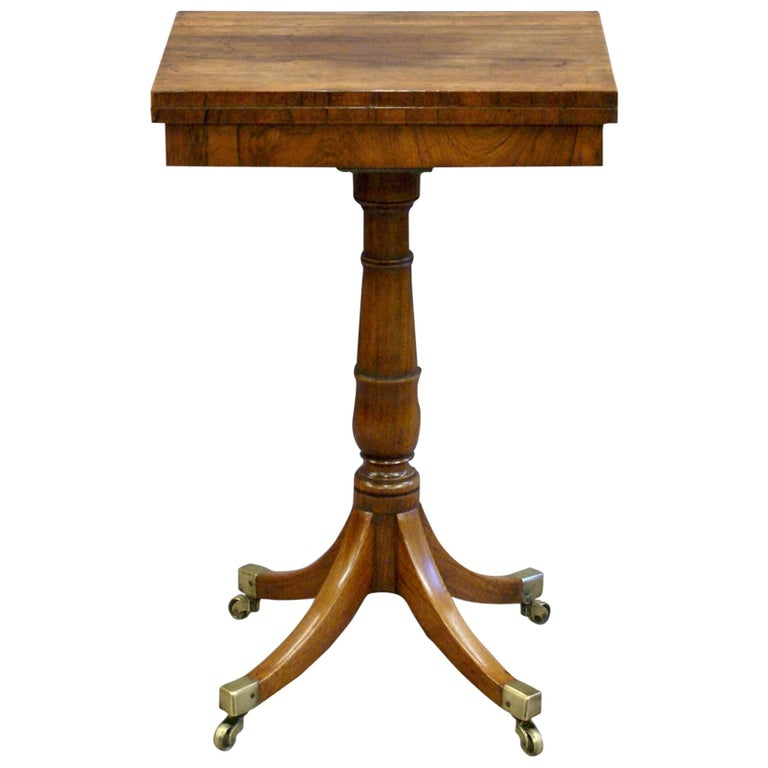 19th Century Regency Period Rosewood Folding Games Table on Pedestal Base