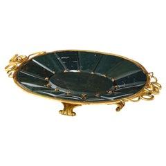 19th Century Russian Dore Bronze & Jewel Mounted Bloodstone Jasper Tray
