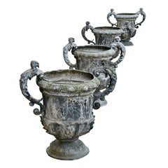 19th Century Set of Four Lead Urns
