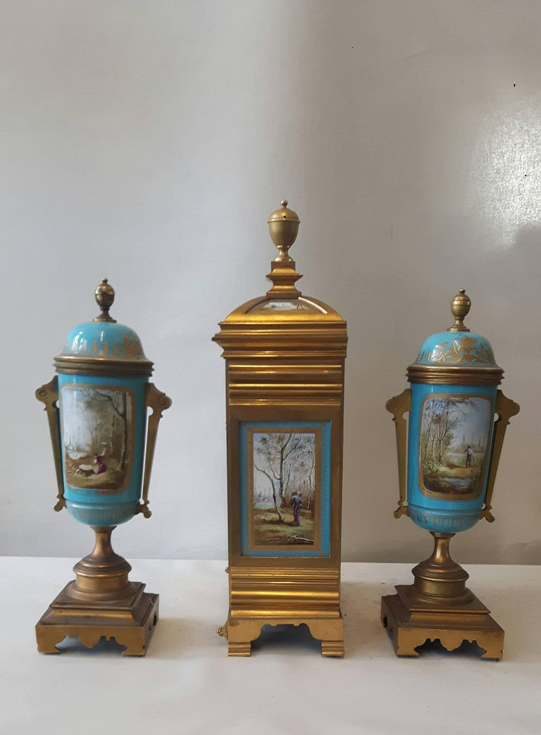 Cast 19th Century Sevres-Style Garniture For Sale
