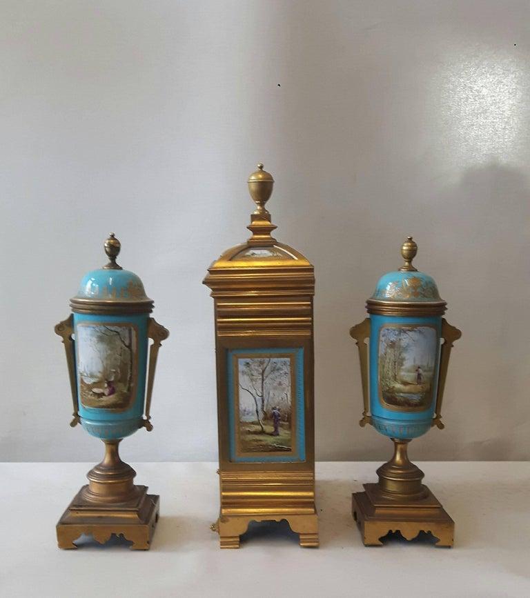 Bronze 19th Century Sevres-Style Garniture For Sale