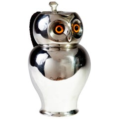 19th Century Silver Hot Chocolate Pot in the Form of an Owl, HJ LINTON, Paris
