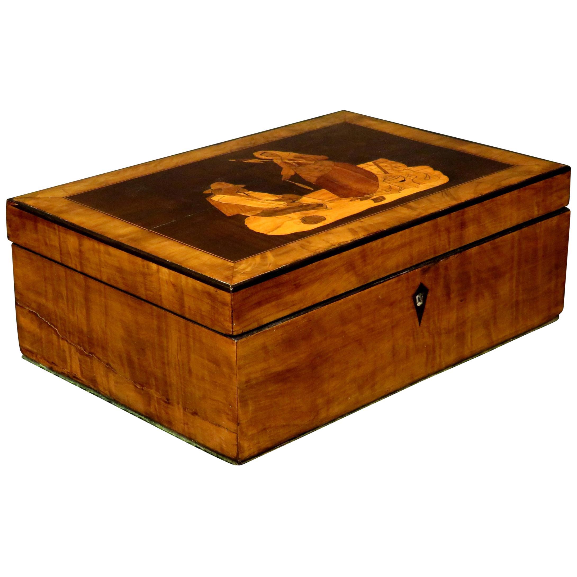 19th Century Sorrento Marquetry Jewellery Box / Trinket Box, Italy Circa 1880