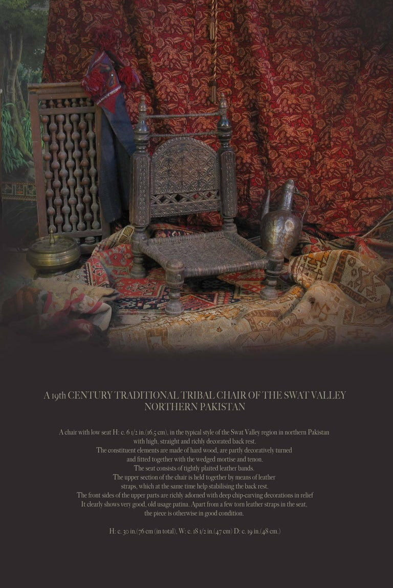 19th Century Traditional Tribal Chair of the Swat Valley, Northern Pakistan For Sale 5