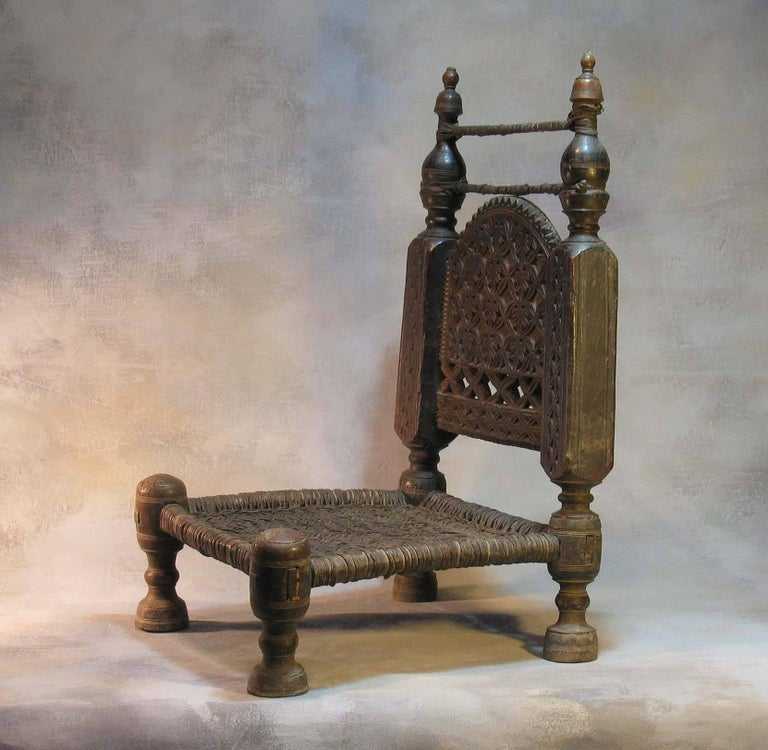 Pakistani 19th Century Traditional Tribal Chair of the Swat Valley, Northern Pakistan For Sale