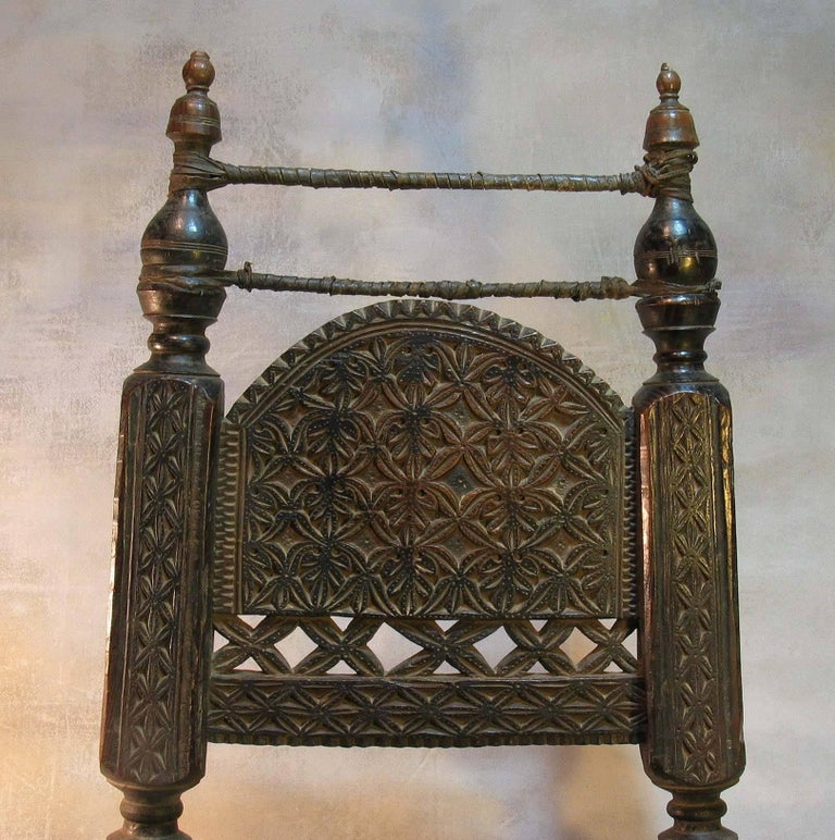 Leather 19th Century Traditional Tribal Chair of the Swat Valley, Northern Pakistan For Sale