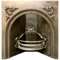 19th Century Victorian Arched Cast Iron Fireplace Insert