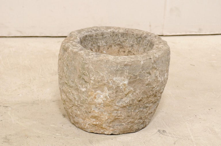 Hand-Carved 19th Spanish Large Carved Stone Bowl or Vessel For Sale
