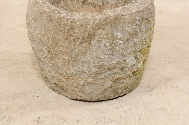 Limestone 19th Spanish Large Carved Stone Bowl or Vessel For Sale