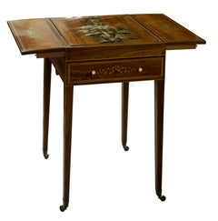 19th Century Chinoiserie Decorated Rosewood Drop Leaf Games Table