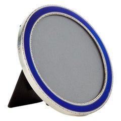 20th Century Art Deco Royal Blue Enamel Frame Marked Sterling Circa 1920