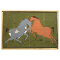 20th Century Equestrian Gouache Painting