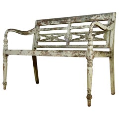 20th Century French Cream - White Painted Garden Bench