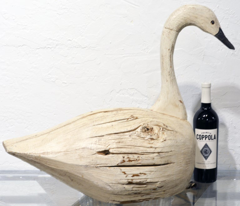 20th Century Large Sculptural Carved and Painted Decoy Swan 4