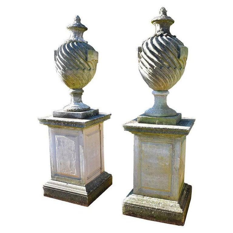 20th Century Pair of Lidded Urns