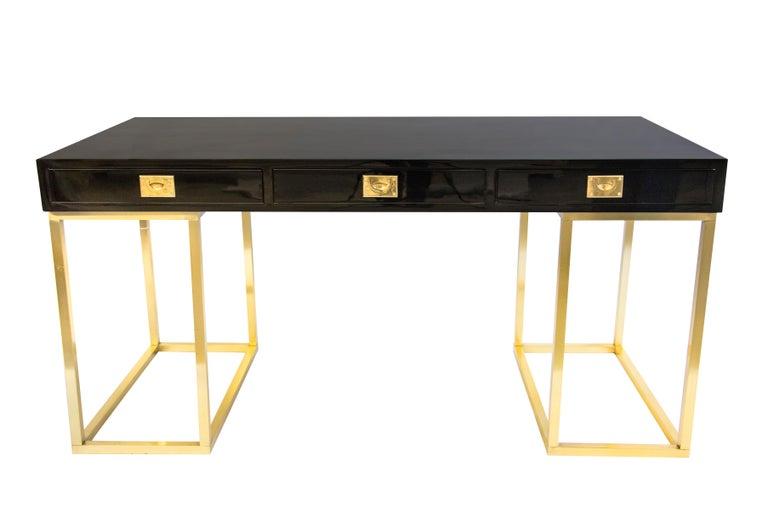 Lacquered 20th Century Rare Guy Lefevre Lacquer Desk for Maison Jansen For Sale