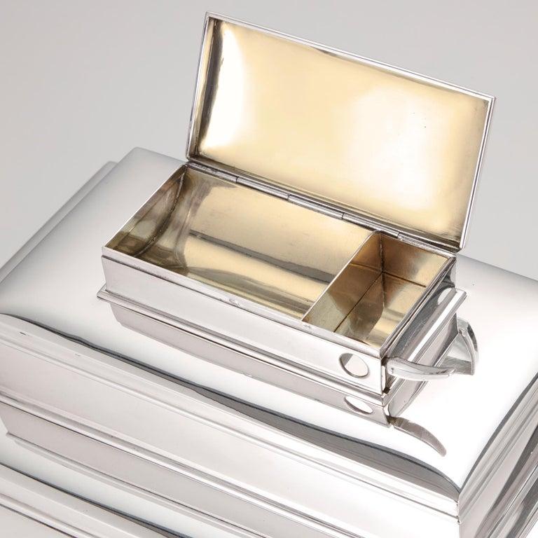 20th Century Sterling Silver 3-Tier Cigar & Cigarette Box by Tiffany, circa 1930 For Sale 4