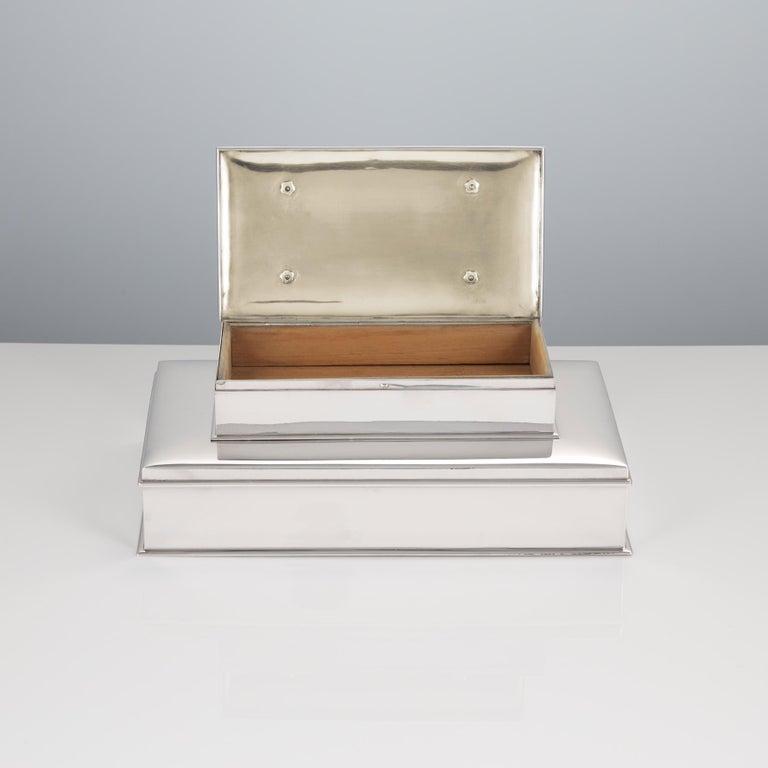 Art Deco 20th Century Sterling Silver 3-Tier Cigar & Cigarette Box by Tiffany, circa 1930 For Sale