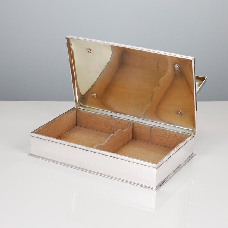 Mid-20th Century 20th Century Sterling Silver 3-Tier Cigar & Cigarette Box by Tiffany, circa 1930 For Sale