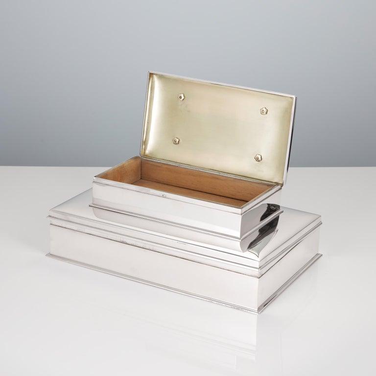 20th Century Sterling Silver 3-Tier Cigar & Cigarette Box by Tiffany, circa 1930 For Sale 1
