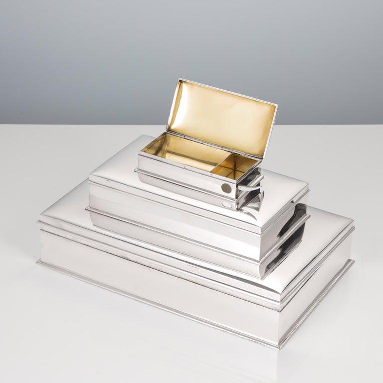 20th Century Sterling Silver 3-Tier Cigar & Cigarette Box by Tiffany, circa 1930 For Sale 2