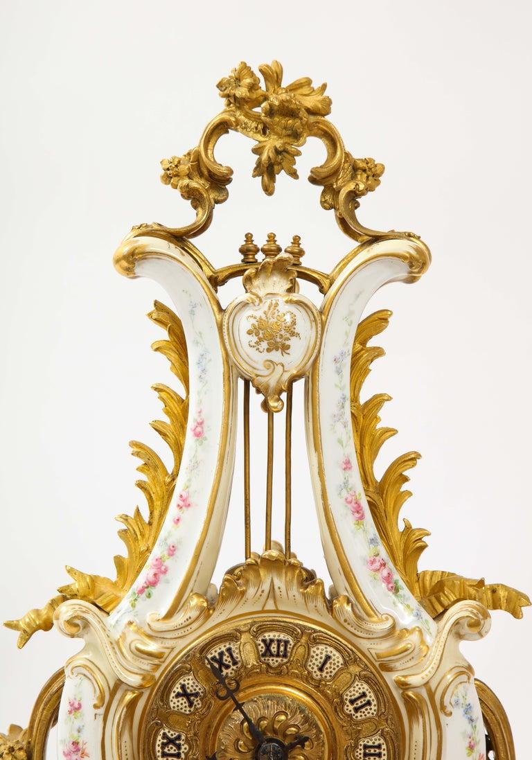 3-Piece Sevres Porcelain and Dore Bronze Mnt. Clock and Candelabra Garniture For Sale 6