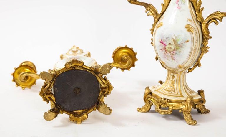 3-Piece Sevres Porcelain and Dore Bronze Mnt. Clock and Candelabra Garniture For Sale 12