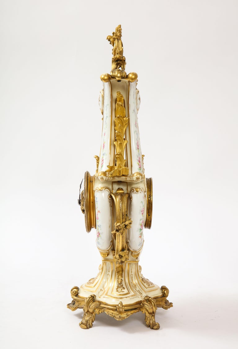 Louis XVI 3-Piece Sevres Porcelain and Dore Bronze Mnt. Clock and Candelabra Garniture For Sale