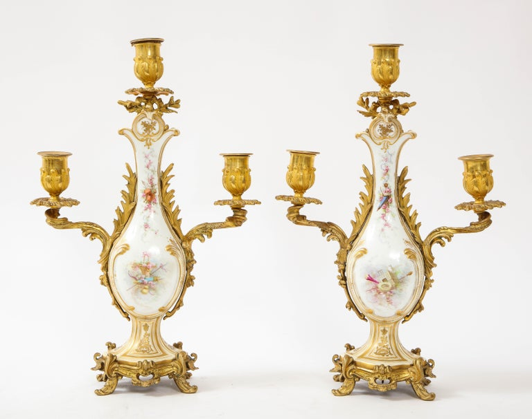 Mid-19th Century 3-Piece Sevres Porcelain and Dore Bronze Mnt. Clock and Candelabra Garniture For Sale