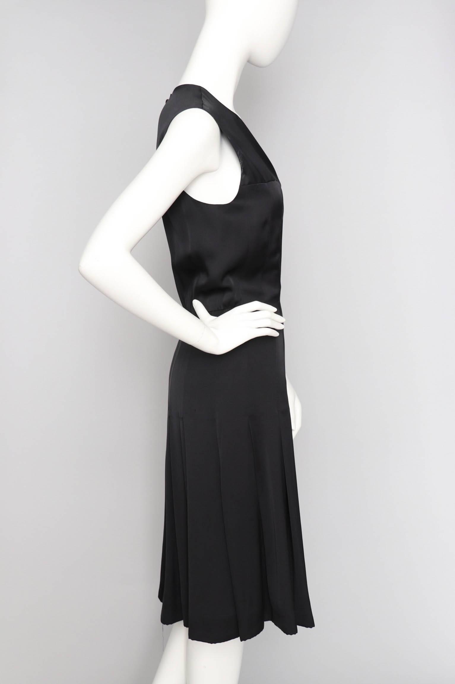 d971c01ffb3ff A 90s Vintage Black Chanel Silk Satin Cocktail Dress L For Sale at 1stdibs