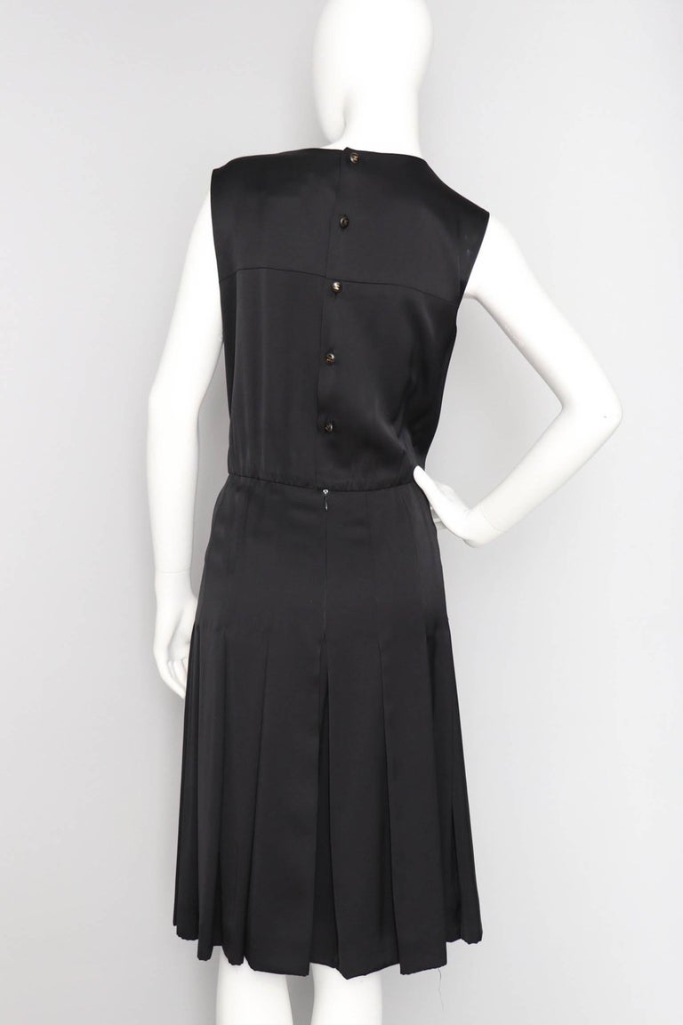 Women's or Men's A 90s Vintage Black Chanel Silk Satin Cocktail Dress L For Sale