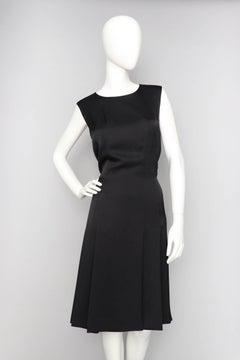 A 90s Vintage Black Chanel Silk Satin Cocktail Dress L
