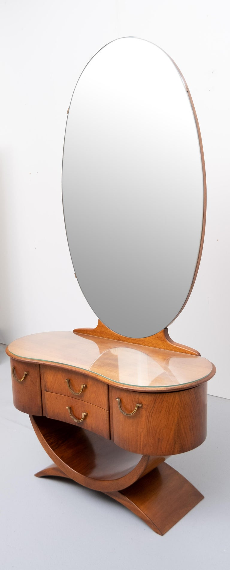 Dutch A A Patijn Curved Dressing Table, 1950s, Holland For Sale