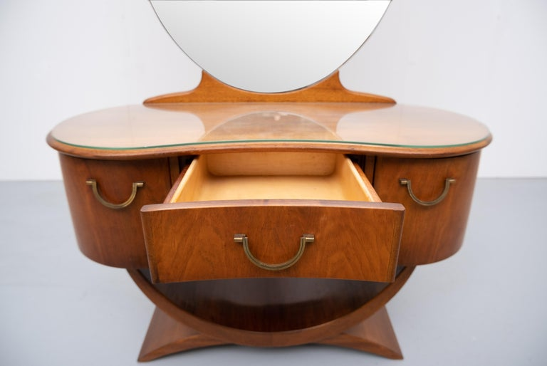 A A Patijn Curved Dressing Table, 1950s, Holland In Good Condition For Sale In Den Haag, NL