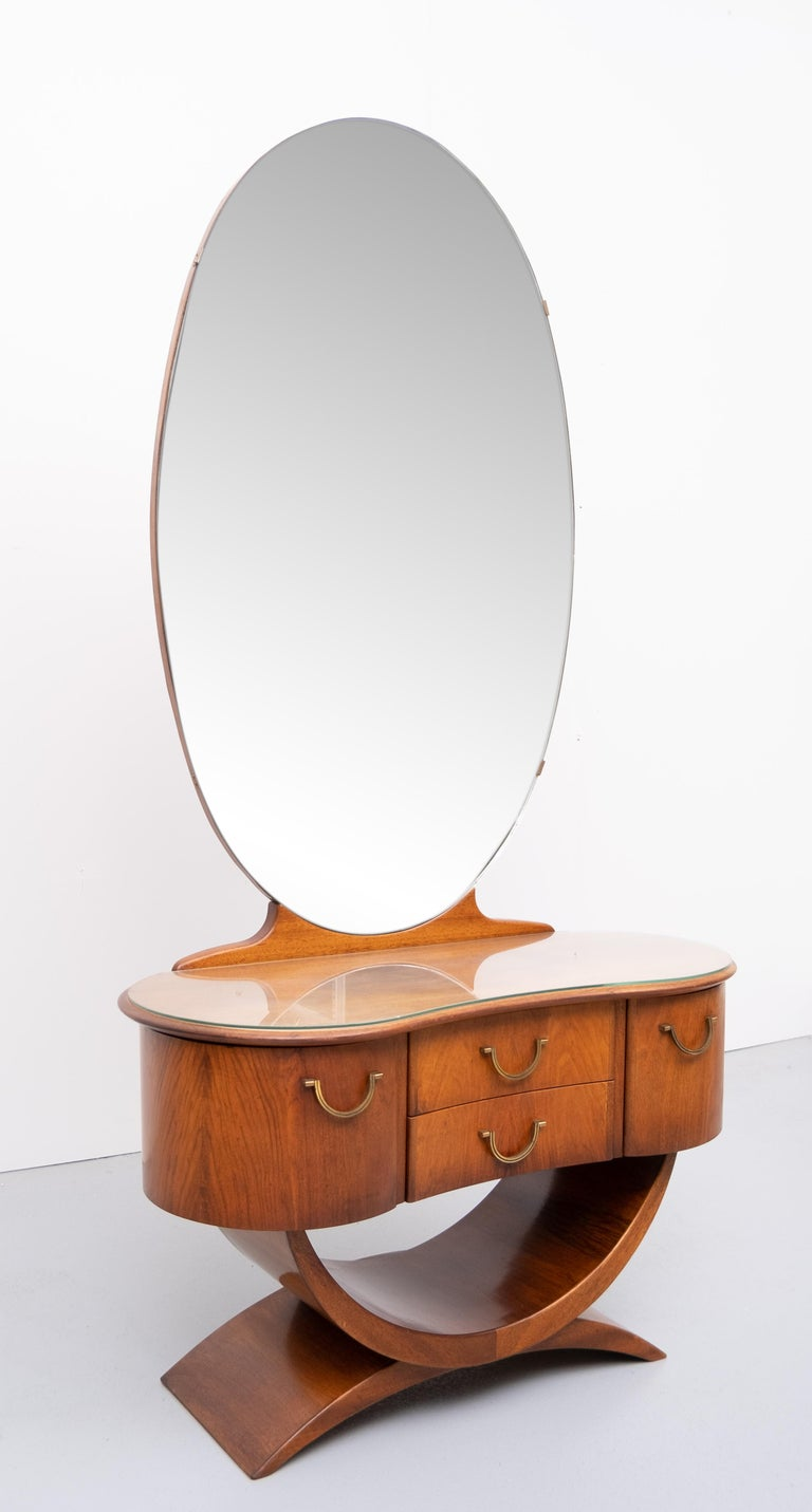 Mid-20th Century A A Patijn Curved Dressing Table, 1950s, Holland For Sale