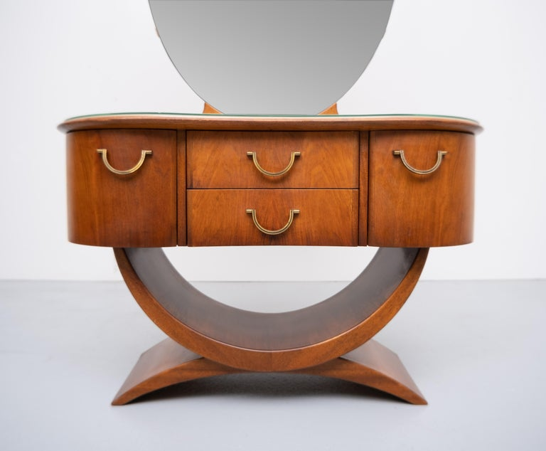 Nutwood A A Patijn Curved Dressing Table, 1950s, Holland For Sale