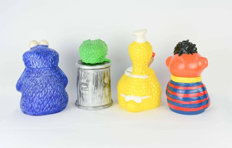A Amazing Muppet's Sesame Street Cookie Jar Collection from 1973, The set includes four of the four cookie jars from the 1973 line. The collection is Ernie, Cookie Monster, Big Bird and Oscar the grouch.
