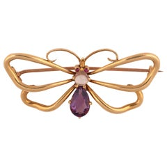 Amethyst Ruby and Moonstone Butterfly Brooch