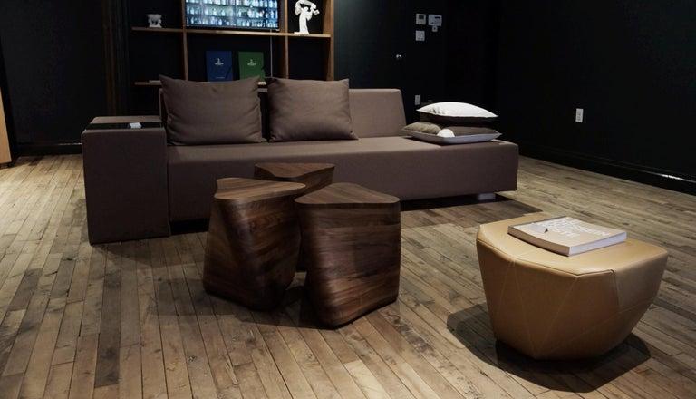 French A. Anakis Sidigi Sofa in Green Wool by Domeau & Pérès For Sale