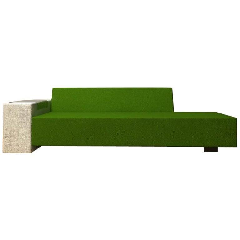 A. Anakis Sidigi Sofa in Green Wool by Domeau & Pérès For Sale