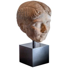 Ancient Roman Marble Bust of a Woman, 1st Century BC-1st century AD
