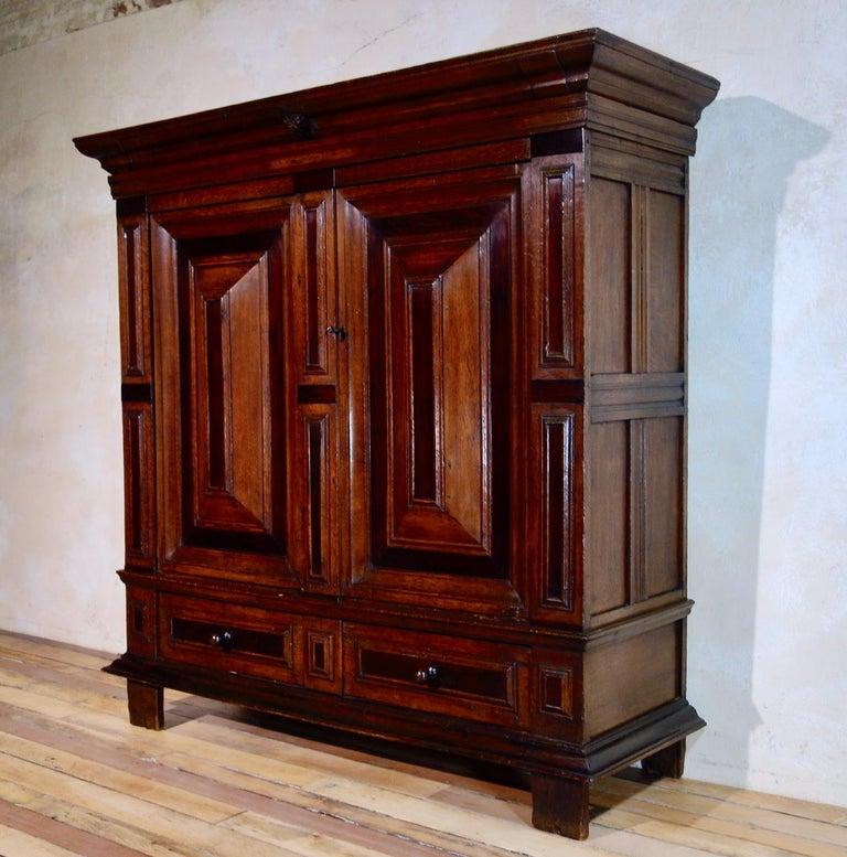 Antique 17th Century Dutch Hall Cupboard Kast Oak Rosewood Armoire Kas