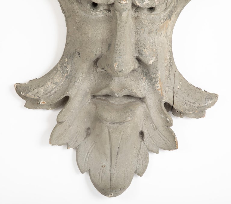 Pine Architectural Element in the Form of a Face For Sale