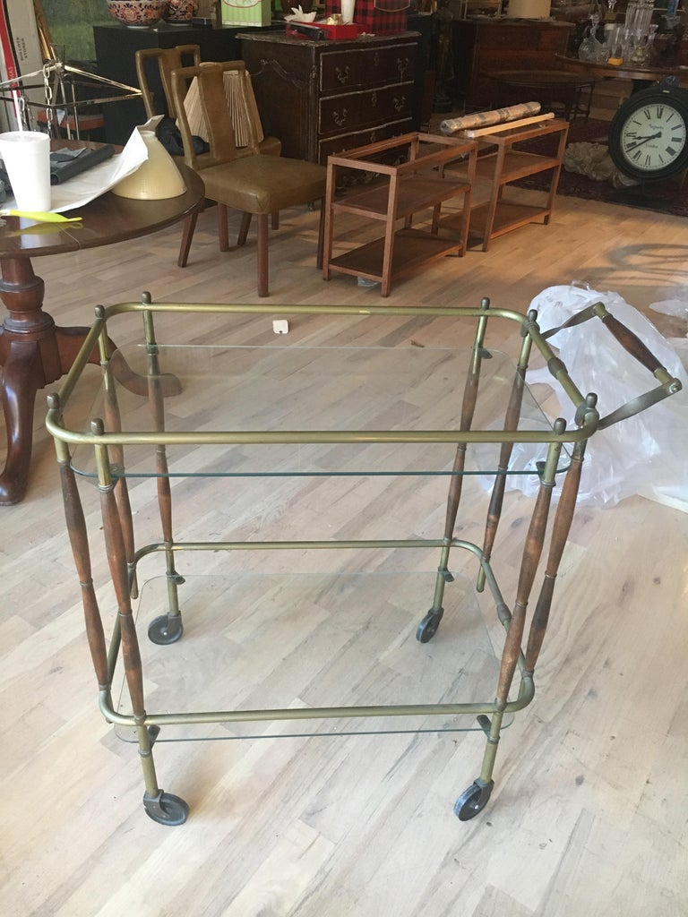 20th Century Baker Brass and Faux Bamboo Hollywood Regency Cocktail Table For Sale