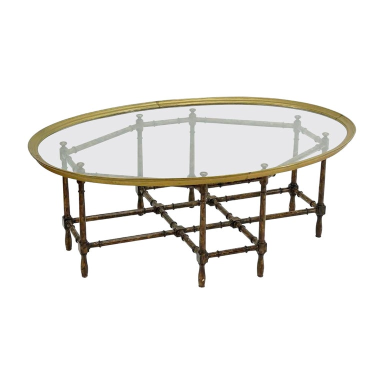 Baker Brass and Faux Bamboo Hollywood Regency Cocktail Table For Sale