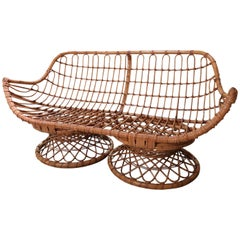Bamboo Midcentury Italian Sofa, 1950