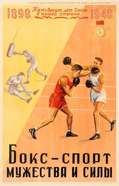 Original Vintage Soviet Sport Poster For 50 Years Of Boxing In Russia 1898 1948