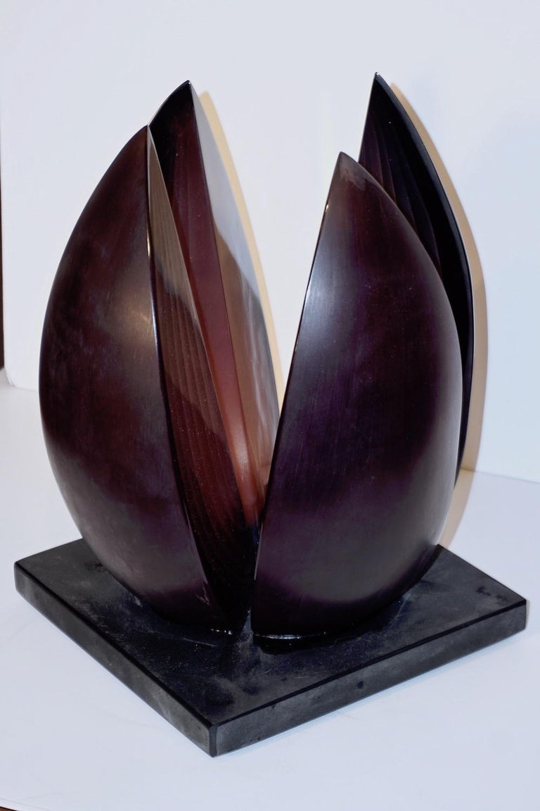 A. Barbaro Abstract Flower Sculpture in a Dark Plum Murano Glass on Slate Base For Sale 1
